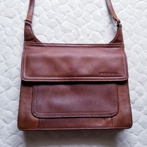 Fossil crossbody leather purse bag small brown